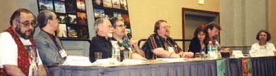The panel at a Cordwainer Smith discussion in 2001